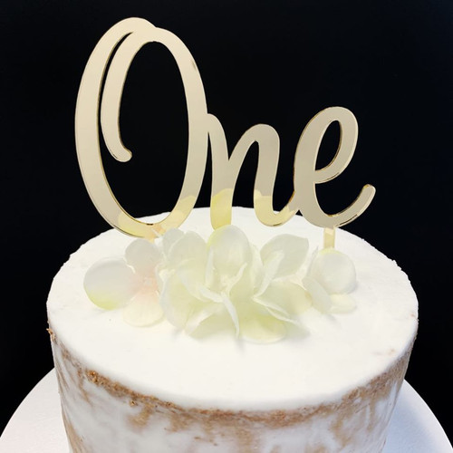 Acrylic Cake Topper 'ONE' - GOLD