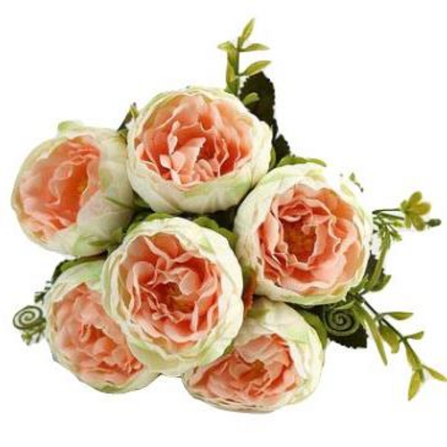 Silk Flowers Peony Ranunculus Spray - CREAM & PEACH