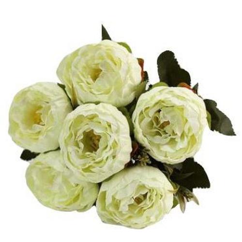 Silk Flowers Peony Ranunculus Spray - CREAM