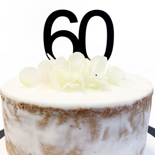 "Acrylic Cake Topper ""60"" 7cm - BLACK"