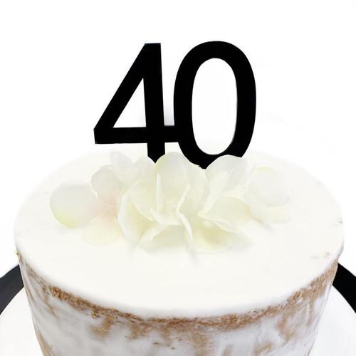 """Cake Topper """"40"""" 7cm - BLACK"""