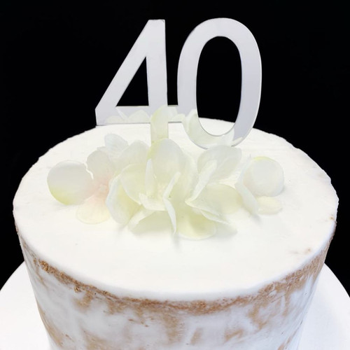 "Cake Topper ""40"" 7cm - SILVER"