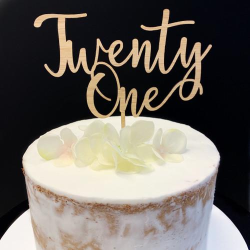 Cake Topper TWENTY ONE (Age Script) - BAMBOO