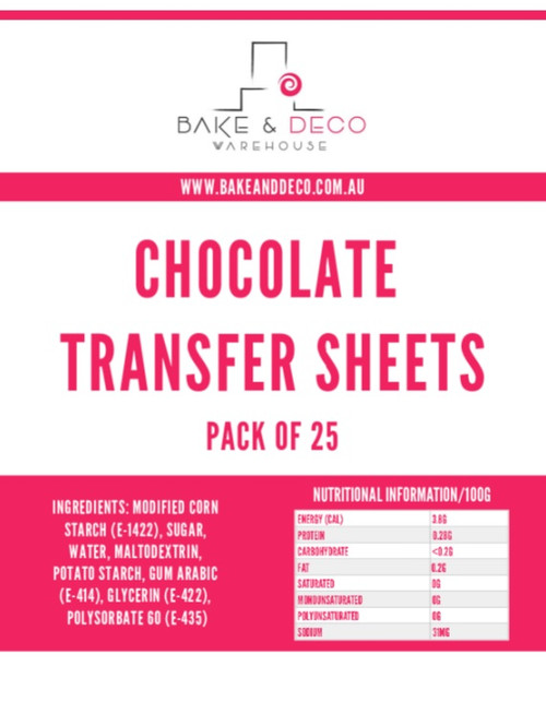 BLANK Chocolate Transfer Sheets 25 pack