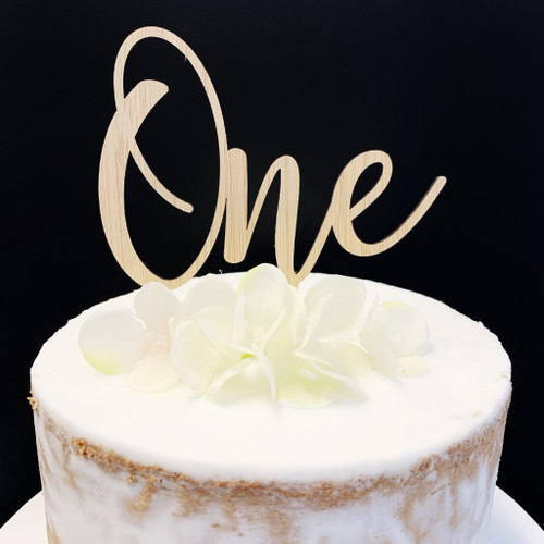 Cake Topper 'ONE' (Age Script) - BAMBOO