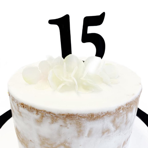 Acrylic Cake Topper '15' 7cm - BLACK