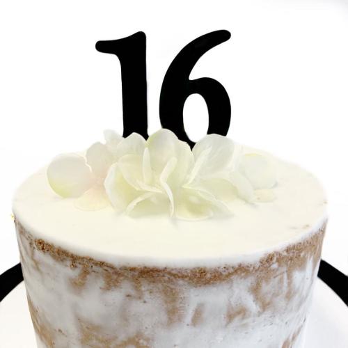 Acrylic Cake Topper '16' 7cm - BLACK