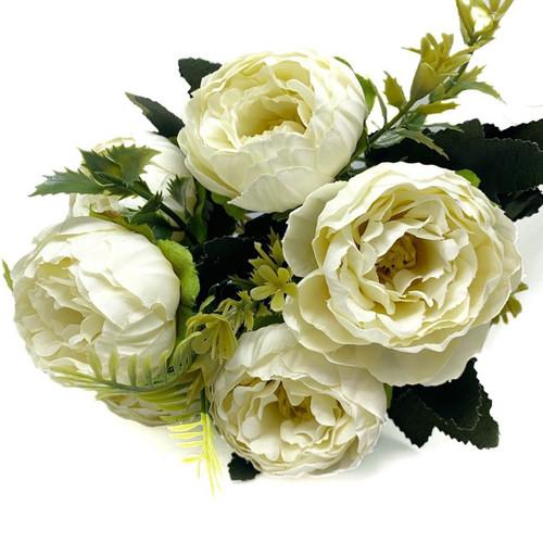 Silk Flowers Peony Ranunculus Spray - IVORY