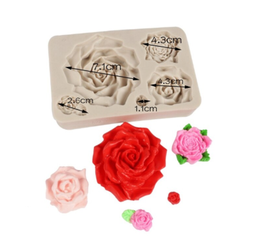 Silicone Mold 5pc - Rose Set