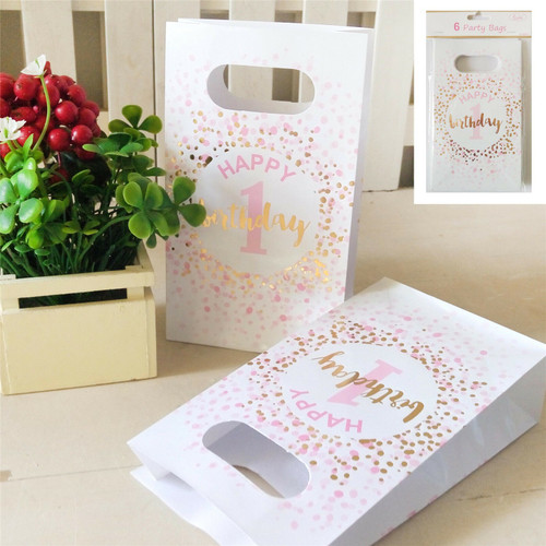 Shmick Party Bags 6 pc - Happy 1st Birthday Pink