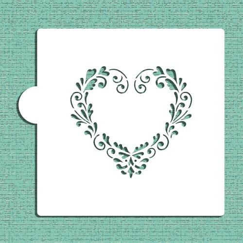 Delft Heart Cookie Stencil CM048