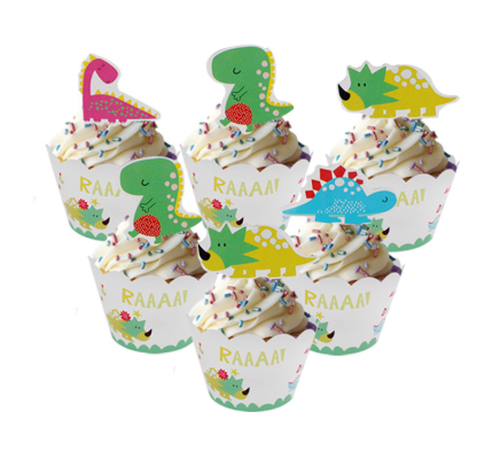 Cupcake Wrap & Toppers - HAPPY DINO