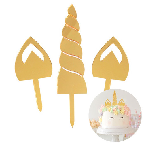 Acrylic Cake Topper - Gold Unicorn Ears & Horn