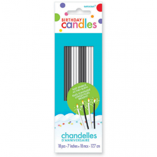 Birthday Candles Sparkling Thin - 18pc / BLACK & WHITE