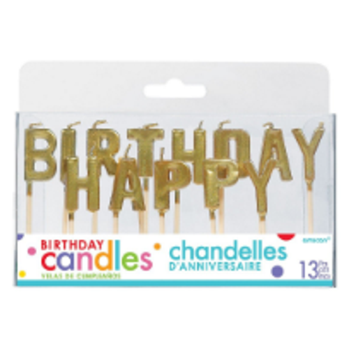 Birthday Candles - Happy Birthday / GOLD