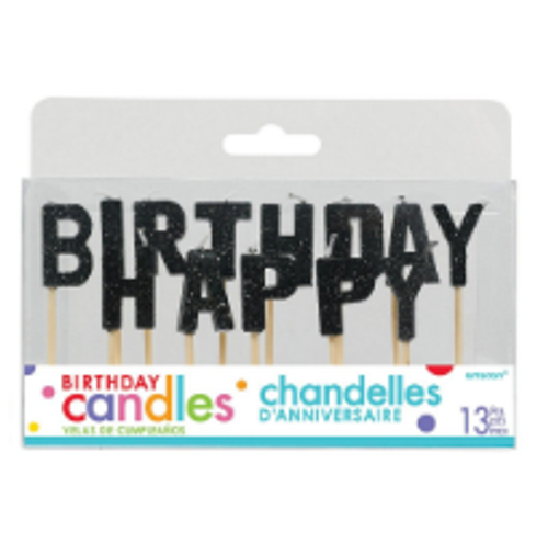 Birthday Candles - Happy Birthday / BLACK GLITTER