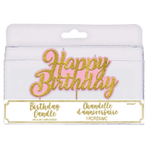 Birthday Candles - Happy Birthday / PINK & GOLD