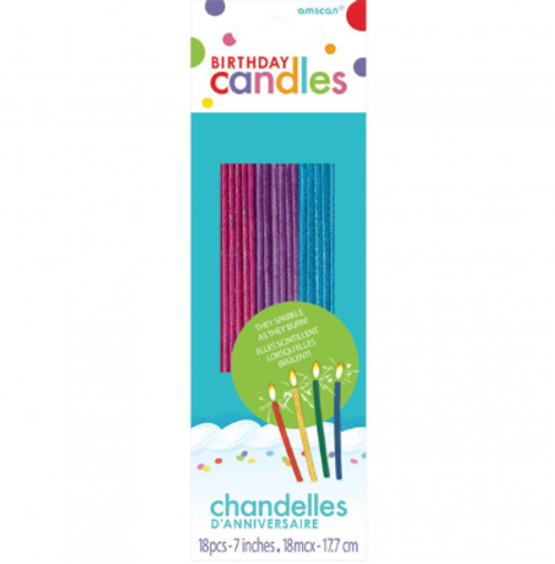 Birthday Candles - Sparkling Thin - 18pc / MULTICOLOURED