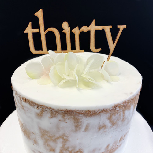 Timber Cake Topper 'Thirty' (Age Print) - Timber