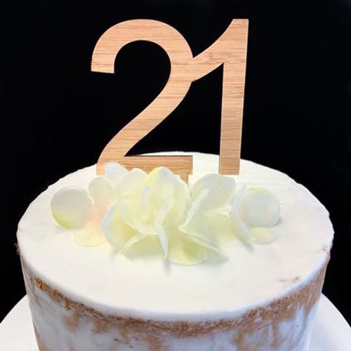 Acrylic Cake Topper '21' 8.5cm - BAMBOO