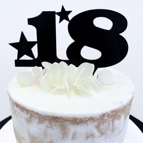 Acrylic Cake Topper '18' Stars - BLACK