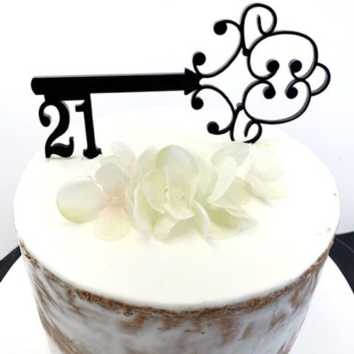 Acrylic Cake Topper '21' Key - BLACK