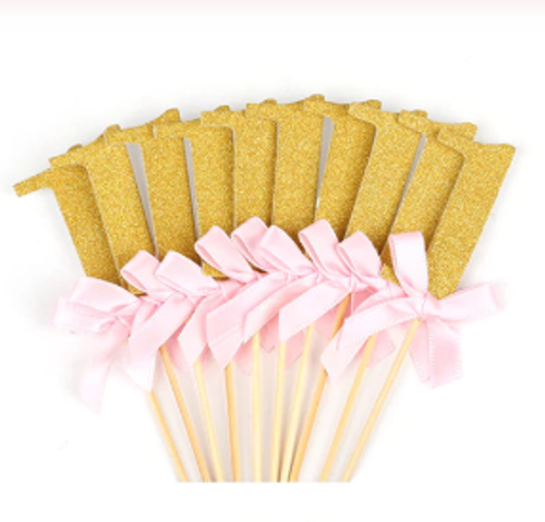 """""""1"""" With Bows Gold Picks - Pink - 12pc"""