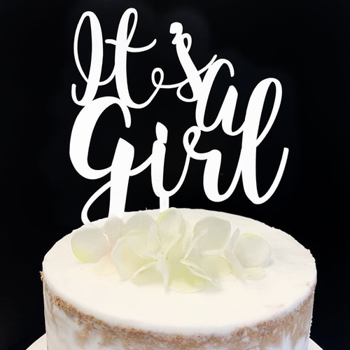 Acrylic Cake Topper 'It's a Girl' - WHITE