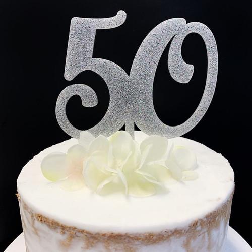 Acrylic Cake Topper Glitter #50 - SILVER