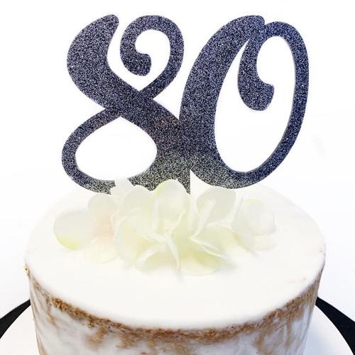 Acrylic Cake Topper Glitter #80 - BLACK