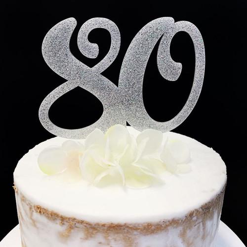 Acrylic Cake Topper Glitter #80 - SILVER