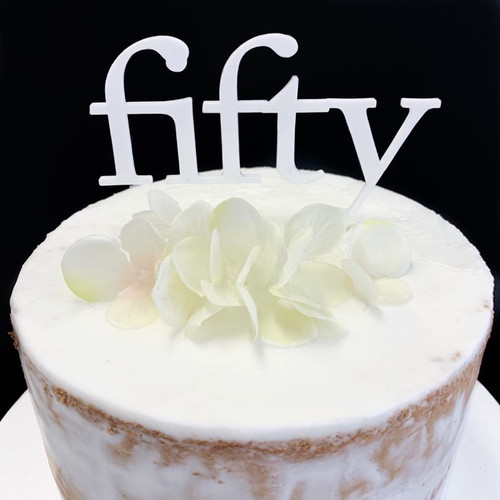 Acrylic Cake Topper 'Fifty' (Age Print) - WHITE