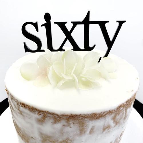 Acrylic Cake Topper 'Sixty' (Age Print) - BLACK