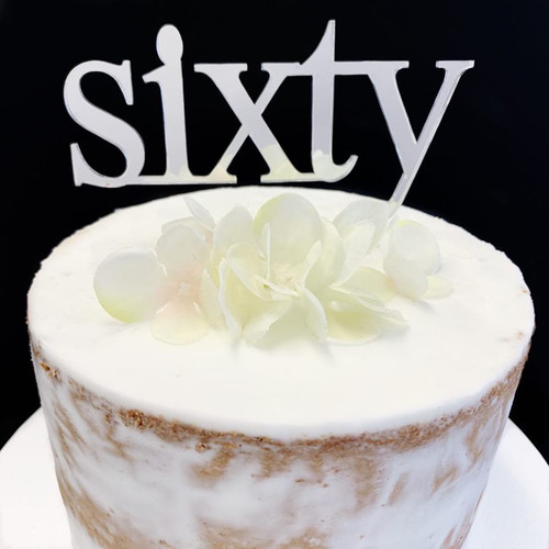 Acrylic Cake Topper 'Sixty' (Age Print) - SILVER