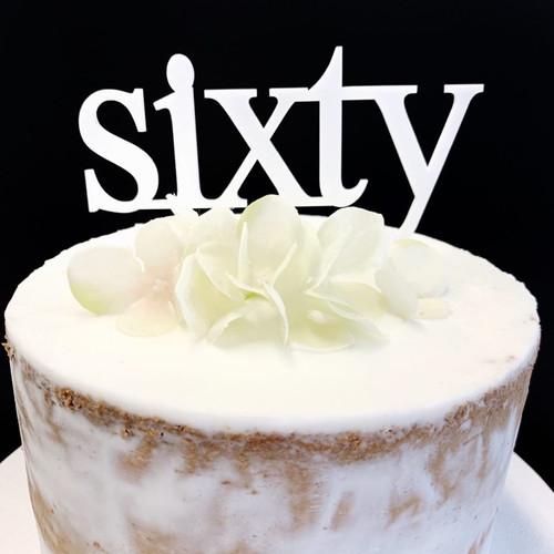 Acrylic Cake Topper 'Sixty' (Age Print) - WHITE