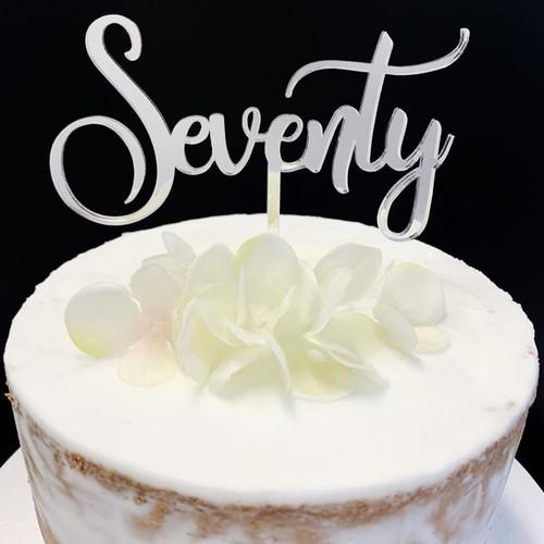 Acrylic Cake Topper 'Seventy' (Age Script) - SILVER