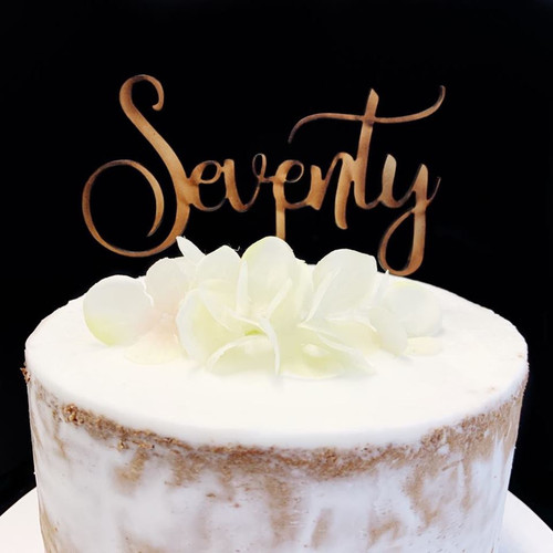 Cake Topper 'Seventy' (Age Script) - Timber