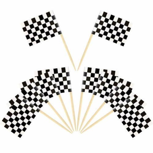 Assorted Decor Picks 10pc - Checkered Flag
