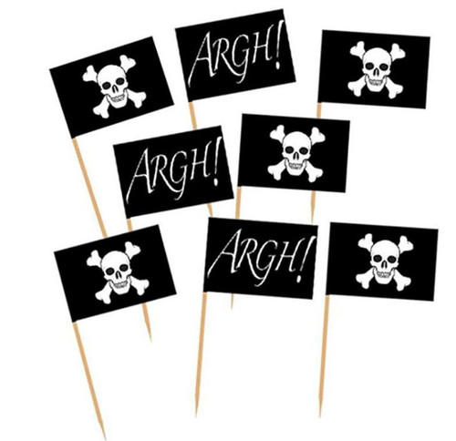 Assorted Decor Picks 50pc - Pirate Flag
