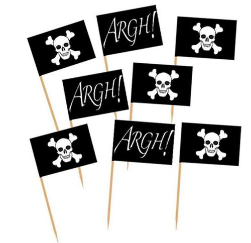 Assorted Decor Picks 50pc - Pirate Flag