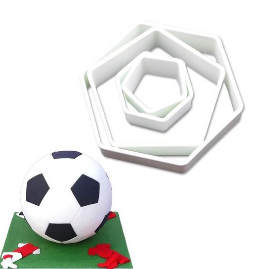 Plastic Cutter 4pc - Soccer Ball Hexagon/Pentagon