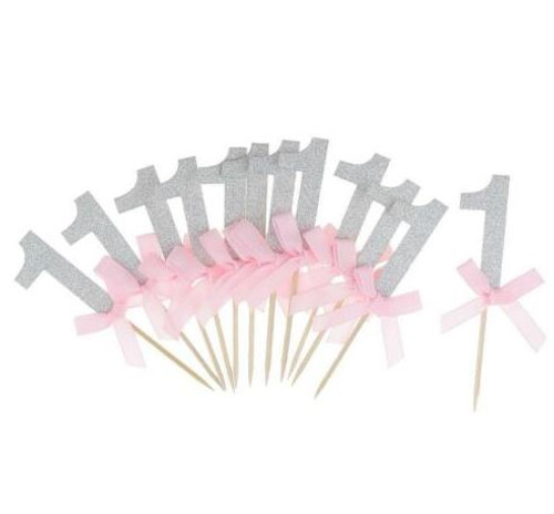 """1"" With Bows Silver Picks - Pink - 12pc"