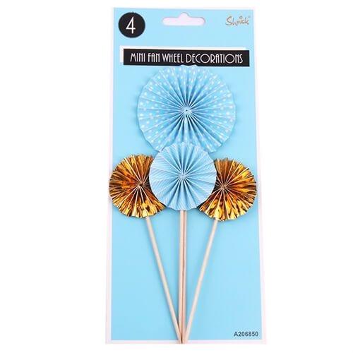 Shmick Mini Fan Wheel Decorations - BLUE & GOLD