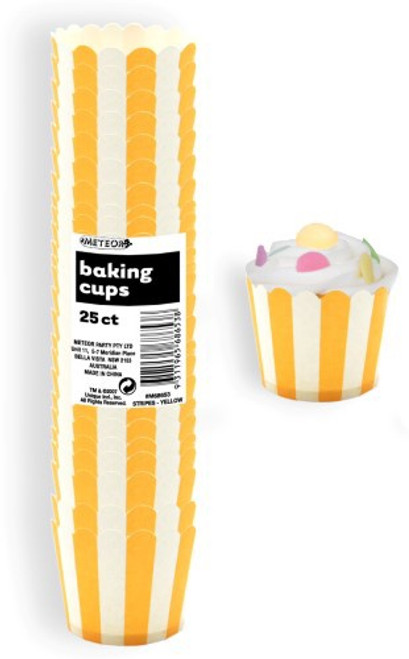 Baking Cups 25pc - STRIPES / YELLOW