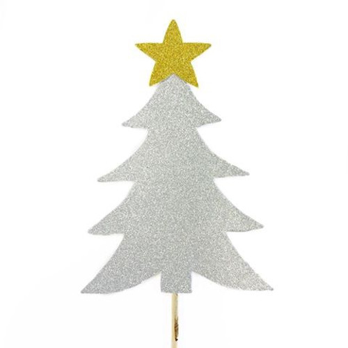 Cake Topper - Silver Christmas Tree