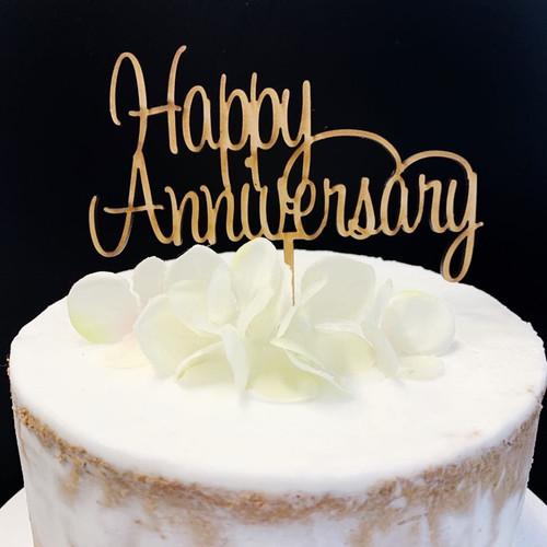 Cake Topper 'Happy Anniversary' (Script) - Timber