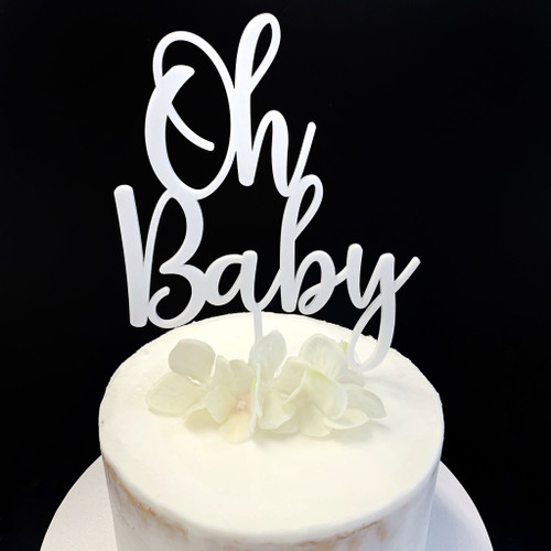 Acrylic Cake Topper 'Oh Baby' - SILVER