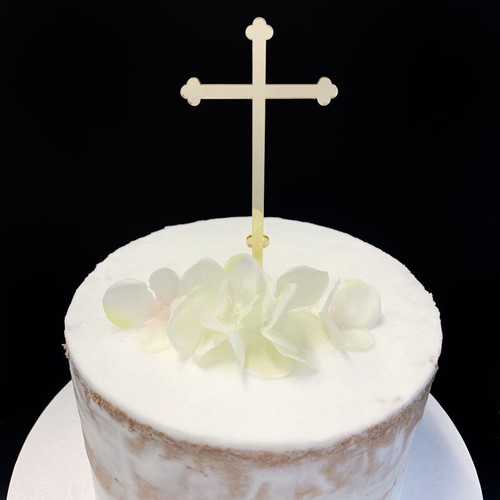 Acrylic Cake Topper 'Budded Cross' - GOLD
