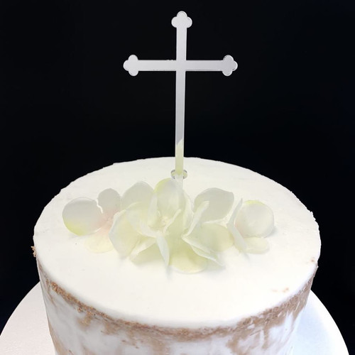 Acrylic Cake Topper 'Budded Cross' - SILVER