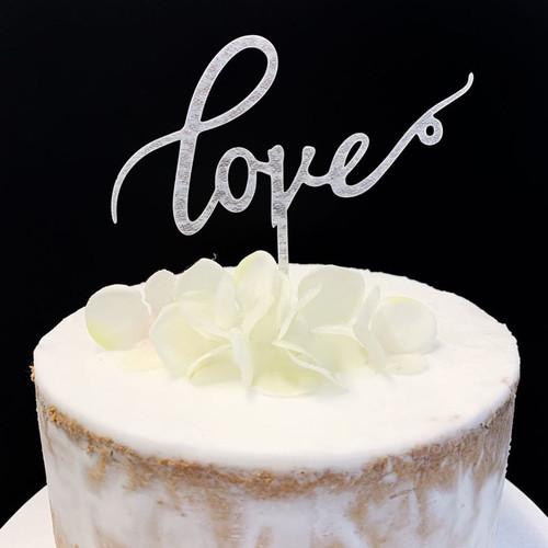 Acrylic Cake Topper 'Love' - SILVER GLITTER